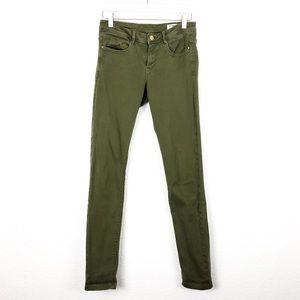 Zara Trf Denim Olive Green Jeans Skinny 4